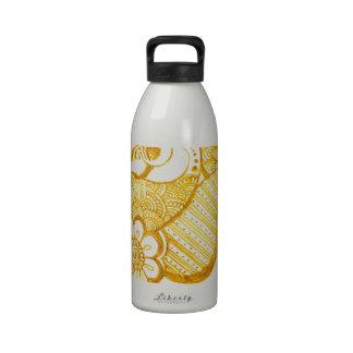 Gold Mehndi henna art Water Bottles