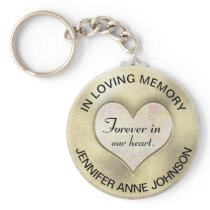 Gold Memorial Heart Keychain