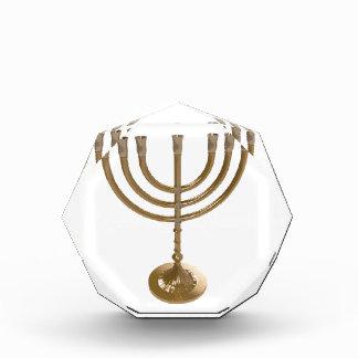 gold menorah acrylic award