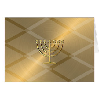 Gold Menorah Hanukkah Card
