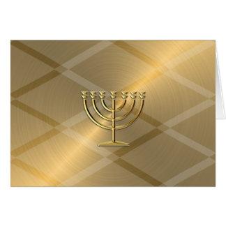 Gold Menorah Hanukkah Card
