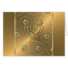 Gold Menorah Hanukkah Card at Zazzle
