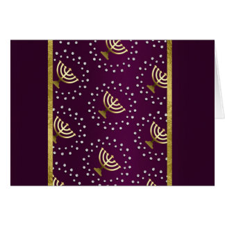 Gold Menorah Hanukkah on Raspberry Card