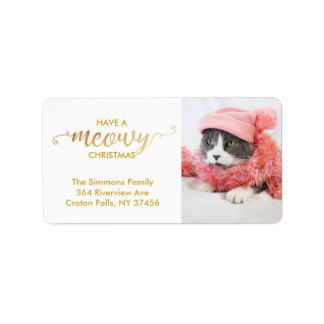Gold MEOWY Personal Cat Photo Pet Holiday Label