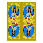 Gold Mermaid and Merfaery Bookmarks Postcard