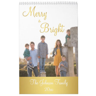 Gold Merry And Bright Personalized Calendar