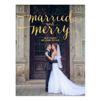 Gold Merry and Married 2 | Holiday Photo Postcard