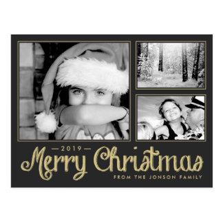 Gold Merry Christmas 3 Photo Modern Postcard