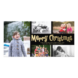 Gold Merry Christmas Collage 5 Photo Card Black