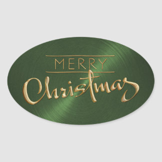 Gold Merry Christmas Green Sticker Embossed Look