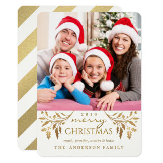 Gold Merry Christmas Holiday Holly Photo Card