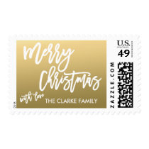 Gold Merry Christmas | Holiday Postage