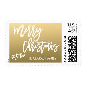 Christmas Themed Gold Merry Christmas   Holiday Postage