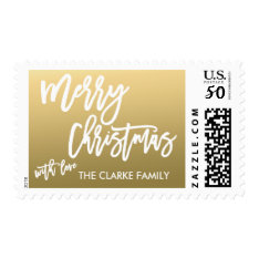 Gold Merry Christmas | Holiday Postage at Zazzle