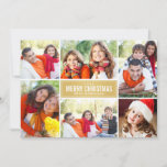 """Gold Merry Christmas   Modern Photo Collage Holiday Card<br><div class=""""desc"""">Simple and modern style Christmas card features six (6) photos,  a custom holiday greeting,  and sleek chevron stripes on the back side. Gold and white color scheme. See our collection below for more color options.</div>"""