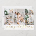 "Gold Merry Christmas Photo Card Five Pictures<br><div class=""desc"">Use our faux gold foil ""Merry Christmas"" photo Christmas cards with five pictures and to wish your friends and family a merry Christmas. BONUS: The patterned backer can be changed to a different pattern and color. Go to the ""Personalize This Template"" section then click the ""Click to Customize Further"" at...</div>"