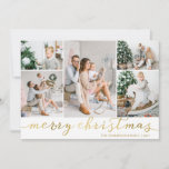 """Gold Merry Christmas Photo Card Five Pictures<br><div class=""""desc"""">Use our faux gold foil """"Merry Christmas"""" photo Christmas cards with five pictures and to wish your friends and family a merry Christmas. BONUS: The patterned backer can be changed to a different pattern and color. Go to the """"Personalize This Template"""" section then click the """"Click to Customize Further"""" at...</div>"""