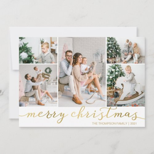 Gold Merry Christmas Photo Card Five Pictures