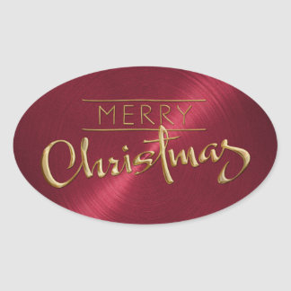 Gold Merry Christmas Red Sticker Embossed Look