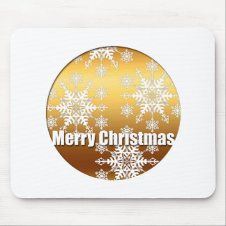 Gold Merry Christmas Snowflakes - Mouse Pad