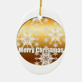 Gold Merry Christmas Snowflakes Oval Ornament