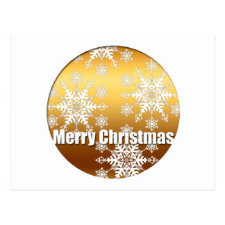 Gold Merry Christmas Snowflakes - Post Cards