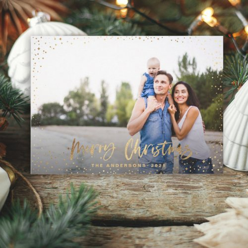 Gold merry Christmas stars photo holiday card