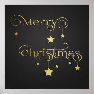 Gold Merry Christmas Stars - Poster Print