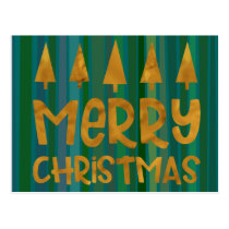 Gold Merry Christmas & Trees w/ Green Stripes Postcard