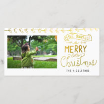 Gold Merry Little Christmas Script Holiday