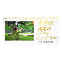Gold Merry Little Christmas Script Holiday Card
