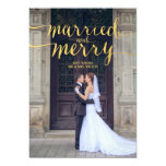 Gold Merry & Married | Holiday Photo Card at Zazzle
