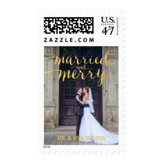 GOLD MERRY & MARRIED | HOLIDAY PHOTO POSTAGE
