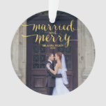 Gold Merry & Married | Photo Holiday Ornament at Zazzle