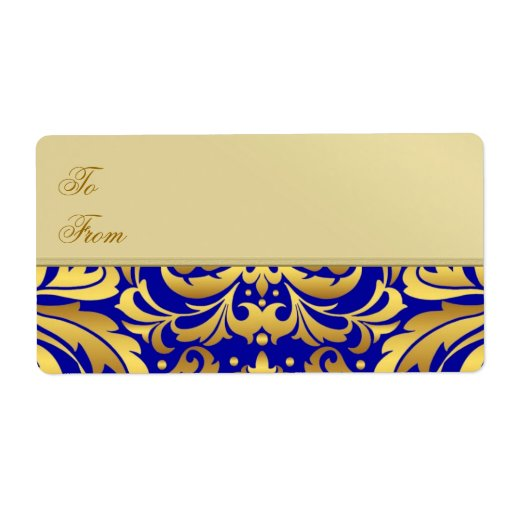 Gold Metal Blue Damask Christmas Gift Tag Label