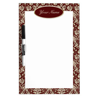 Gold Metal Color Damask Pattern on Maroon Dry-Erase Board