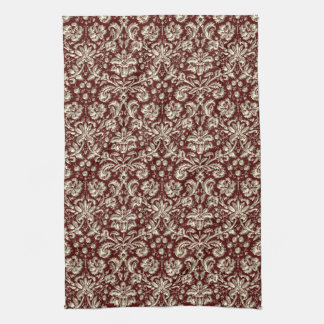 Gold Metal Color Damask Pattern on Maroon Hand Towel
