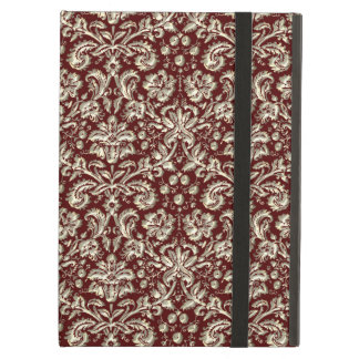 Gold Metal Color Damask Pattern on Maroon iPad Air Cover