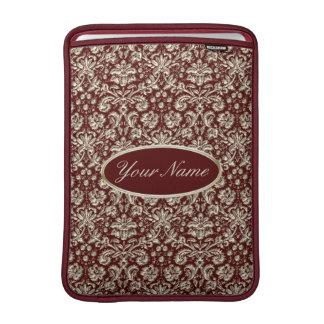 Gold Metal Color Damask Pattern on Maroon Sleeve For MacBook Air