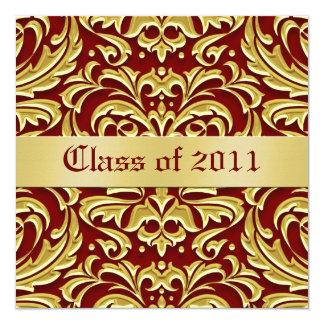 Gold Metal Damask Class of Graduation Invitation