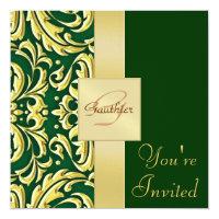 Gold Metal Damask Green Holiday Invitation