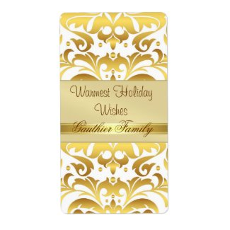 Gold Metal Damask White Holiday Wine Label