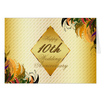 Gold Metal Fl Hy 10th Wedding Anniversary Card