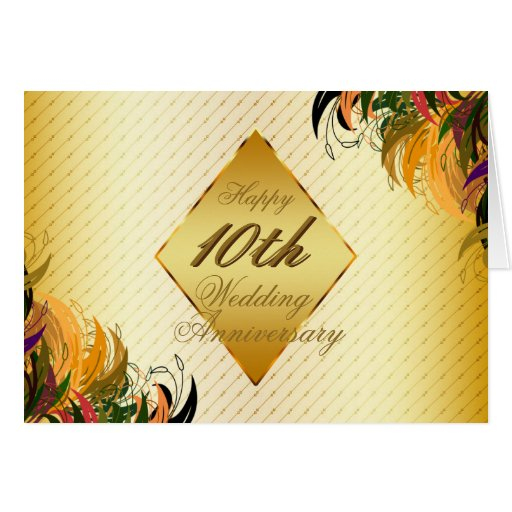 Gold metal floral happy 10th wedding anniversary card zazzle