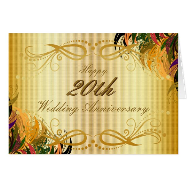 Gold metal floral happy th wedding anniversary card zazzle