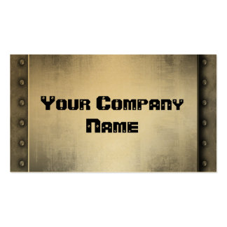 Gold Metal Look With Rivets Border Business Cards