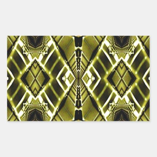 Gold Metal Maze Rectangular Sticker