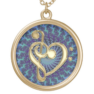 Gold Metal Music Clef Heart Colorful Pendant