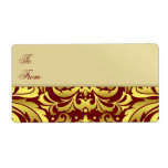 Gold Metal Red Damask Christmas Gift Tag Label