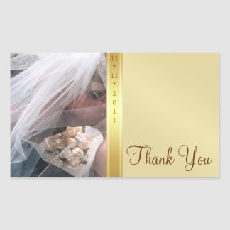 Gold Metal Thank You Photo Wedding Sticker